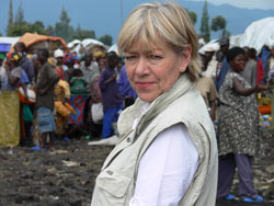 Elisabeth Rasmusson in the field as secretary general of the Norwegian Refugee Council. PHOTO: NRC