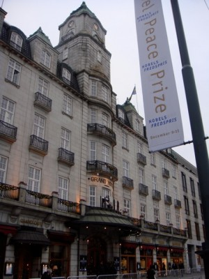 Oslo's Grand Hotel is one of the Norwegian capital's finest and traditionally hosts the winner of the Nobel Peace Prize every year. PHOTO: newsinenglish.no