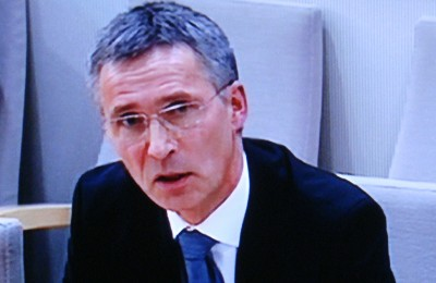 Prime Minister Jens Stoltenberg, testifying before the parliament's special committee that examined the government's response to the terrorist attacks of July 22, 2011. Stoltenberg later apologized to the full parliament, for his government's failure to prevent them. PHOTO: NRK screen grab/newsinenglish.no