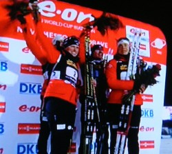 Norwegians landed on the winners' platform on the first day of the Biathlon World Championships in the Czech Republic. PHOTO: NRK screen grab/newsinenglish.no