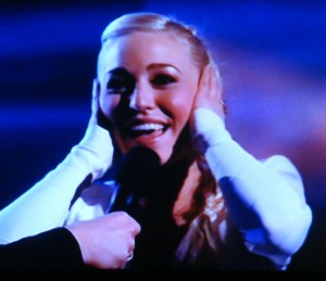 Margaret Berger, reacting after winning this year's Norwegian preliminary to the Eurovision Song Contest. PHOTO: NRK screen grab/newsinenglish.no