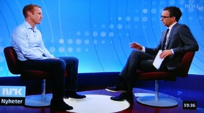 """Skiing legend Bjørn Dæhlie being interviewed about the controversial documentary on Norwegian Broadcasting (NRK)'s national nightly newscast """"Dagsrevy."""" PHOTO: NRK screen grab/newsinenglish.no"""