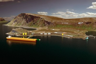 Statoil's planned terminal for oil from the Skrugard field may well be a boon to the community near Honningsvåg. Environmental organizations remained skeptical or opposed to oil exploration and production in sensitive Arctic areas. PHOTO ILLUSTRATION: Statoil