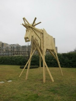 """Characteristic moose made out of wood have been set up near the Kennedy Center in Washington in connection with """"Nordic Cool."""" PHOTO: Nordiskråd/norden.org"""