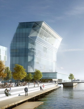 Hopes were rising Wednesday that a new Munch Museum will indeed be built in Oslo, perhaps this artist's rendition of Spanish architect Herreros' award-winning design for a museum on the waterfront at Bjørvika, PHOTO: Herreros