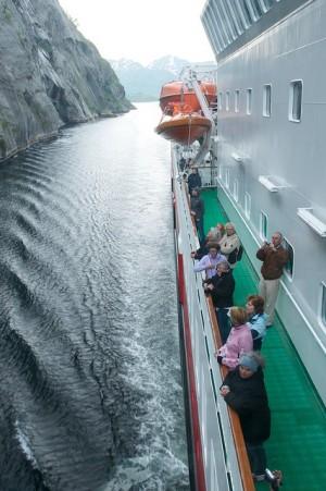 A Hurtigruten ship inside the Trollfjord on an earlier occasion, showing how narrow it is. PHOTO: Hurtigruten