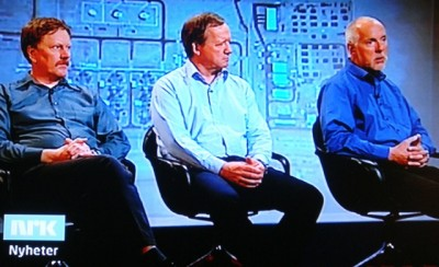 Three of the Statoil workers who survived a terrorist attack on an Algerian gas plant in January told their dramatic stories on Thursday. From left, project leader Kolbjørn Kirkebø, maintenance supervisor Bjarne Våge and engineer Thure Ingebrigtsen being interviewed by Norwegian Broadcasting (NRK). PHOTO: NRK screen grab/newsinenglish.no