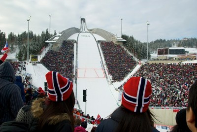 The grandstands at Holmenkollen in Oslo were full once again, as thousands gathered for World Cup ski jumping on Sunday after the women's 30-kilometer race. PHOTO: newsinenglish.no