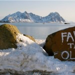 Lofoten, oil - grafitti on a stone in Svolvær, march 2013