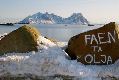 Lofoten, oil - grafitti on a stone in Svolvær, march 2013