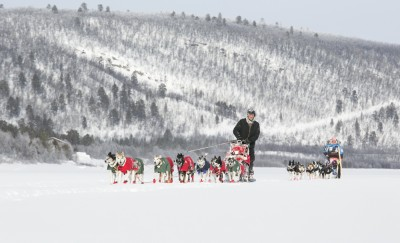 Thomas Wærner and his team of 14 dogs, on their way to winning Finnmarksløpet in Northern Norway. PHOTO: finnmarkslopet.no
