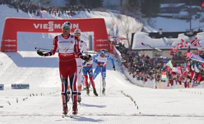 Petter Northug made his finish look easy in the men's relay at the World Championships on Friday, but wasn't so smug when the Swedes he loves to tease ended up beating him on Sunday. PHOTO: fiemme2013.com/Newspower Canon