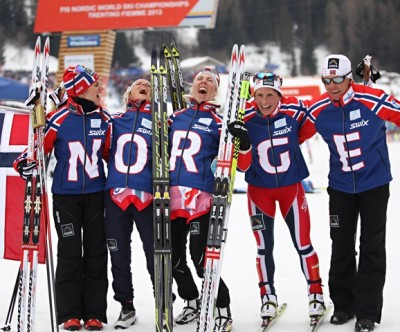 Norway's women's relay team savoured and celebrated their victory, one of many during the World Championships last week. PHOTO: fiemme2013.com/Newspower Canon