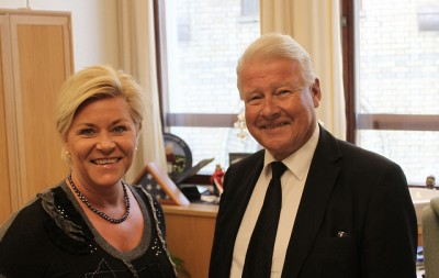 Party leader Siv Jensen and her predecessor Carl I Hagen, who may make a political comeback after the election as a government minister in charge of elder care issues. PHOTO: Fremskrittspartiet