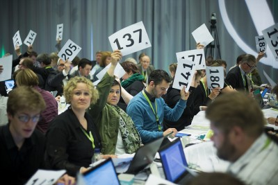 Members of the Liberal Party (Venstre) voting at their national party congress last weekend. PHOTO: Venstre