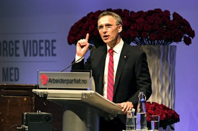 Jens Stoltenberg was making many points as his Labour Party's national meeting headed into the weekend. PHOTO: Arbeiderpartiet
