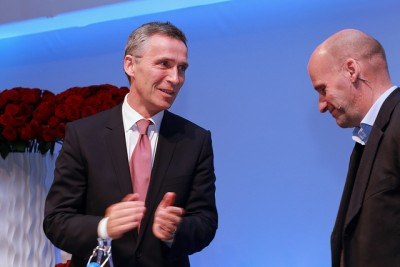 Prime Minister Jens Stoltenberg (left) invited Geir Lippestad to speak at the Labour Party's national meeting over the weekend, even though (or perhaps because) Lippestad defended the terrorist who attacked the Labour Party two years ago. PHOTO: Arbeiderpartiet