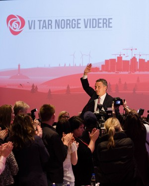 """Jens Stoltenberg, who has served as Norway's prime minister since 2005, was easily re-elected as leader of the Labour Party, which is heading into the campaign for a third term in government power under the slogan  that roughly translates into """"We'll take Norway further.""""  It's by no means certain whether Labour's reelection will succeed as Stoltenberg's did over the weekend, since the non-socialist opposition parties have led public opinion polls for months. PHOTO: Arbeiderpartiet"""