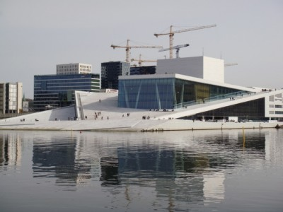 Norway's Opera House in Oslo marked its fifth birthday on Friday, while development of the surrounding area at Bjørvika goes on. PHOTO: newsinenglish.no