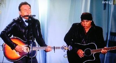 Springsteen performing with Steven Van Zandt (Little Steven) during the memorial appearance in Oslo. PHOTO: NRK screen grab/newsinenglish.no