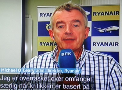 Ryanair boss Michael O'Leary, who flew into Norway last week to address allegations against his airline, is shown here telling Norwegian Broadcasting (NRK) that he's surprised by the scope of the criticism. He thinks it's groundless, and has denied cabin crews work in a culture of fear. PHOTO: NRK screen grab/newsinenglish.no