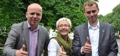 Center Party leader Liv Signe Navarsete (center) and her deputies Trygve Slagsvold Vedum (left) and Ola Borten Moe have been trying to mount a more offensive and united front but splits were visible during their weekend national meeting. Less than 5 percent of Norwegian voters support the party, but it still gets a lot of attention in Norwegian politics. PHOTO: Senterpartiet