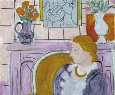 """This undated image released by Henie Onstad Kunstsenter shows part of the painting """"Blue dress in a Yellow Arm Chair"""" from around 1936 by Henry Matisse. PHOTO:  Henie Onstad Art Centre/Oystein Thorvaldsen"""
