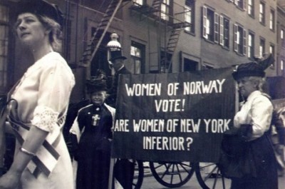 Norwegian women, participating in a woman suffrage parade in New York, 1913. PHOTO: Norsk Folkemuseum