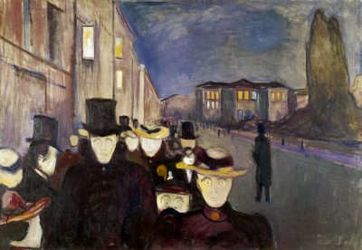 "Much more of Munch's art, like this painting entitle ""Evening on Karl Johan,"" will be on display in the months and years ahead. PHOTO: Munch Museet"