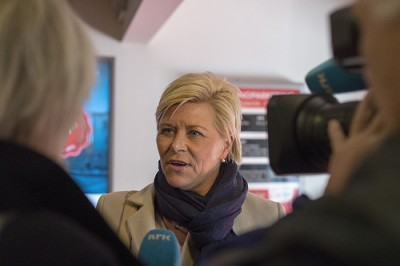 Siv Jensen has a high profile in the Norwegian media and now she's leading her Progress Party into arguably its more important election campaign ever. For the first time, the party has a real chance of winning government power. PHOTO: Fremskrittspartiet