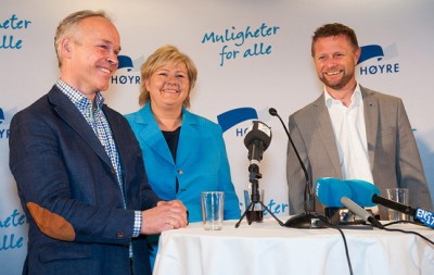 Erna Solberg, leader of Norway's Conservative Party, with her two deputies Jan Tore Sanner (left) and Bent Høie. All are expected to have top ministerial posts in a new Conservative-led government, with Sanner likely in charge of business and trade and Høie as health minister. Solberg would be prime minister. PHOTO: Høyre/Tomas Moss