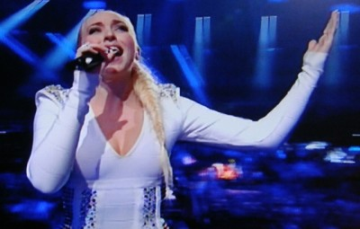"Margaret Berger belted out her song ""I feed you my love"" again on Saturday night, but didn't win the Eurovision Song Contest. PHOTO: NRK screen grab/newsinenglish.no"
