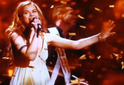 "Emmelie de Forest of Denmark won Eurovision with her song ""Only teardrops."" PHOTO: NRK screen grab/newsinenglish.no"