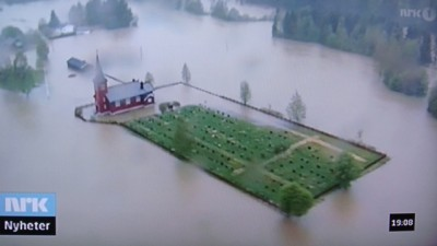 Media coverage of the recent flooding in Norway has been extensive, including Norwegian Broadcasting (NRK)'s reports from here in Østerdalen and several other locations round the country. PHOTO: NRK screen grab/newsinenglish.no