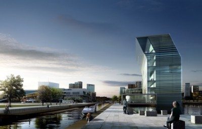 The new Munch Museum, depicted here, will finally be built on Oslo's eastern waterfront, next to the Opera House that opened in 2008. ILLUSTRATION: MIR/Herreros Architectos/Oslo kommune
