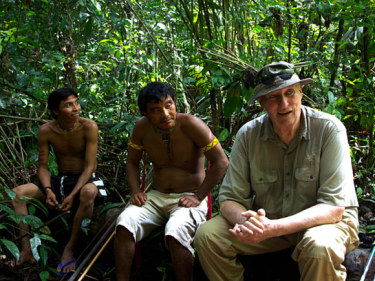 King Harald with local hunters during his recent visit to an Amazon rainforest. PHOTO: Rainforest Foundation Norway / ISA Brazil