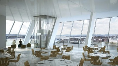 This is what the restaurant inside the new Munch Museum is expected to look like, after city officials finally agreed to build a new landmark building on the city's eastern waterfront at Bjørvika, next to the Opera House. PHOTO: MIR/Herreros Arquitecto, Oslo Kommune