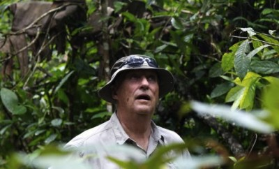 King Harald with his mouth literally open as he experienced the Amazon. PHOTO: Rainforest Foundation Norway/ISA Brazil
