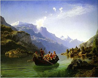 "Norwegian artists Adolph Tidemand and Hans Gude captured the nationally romantic image of a wedding with their classic painting ""Brudeferden i Hardanger"" (Bridal party in Hardanger) from 1848. The painting, showing the bride wearing a golden crown while being rowed from the church, hangs in the National Gallery in Oslo. PHOTO: Wikimedia Commons"