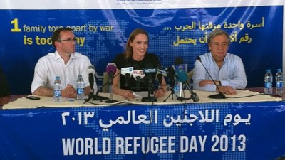 Eide, Jolie and the UN's High Commissioner for Refugees Antonio Guterres called for more international support for Syrian refugees in Jordan. Meanwhile, Eide faced calls for support for a refugee family that spent 10 years in Norway. PHOTO: Utenriksdepartementet/Frode O Andersen