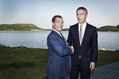 Norwegian Prime Minister Jens Stoltenberg welcomed his Russian counterpart Dmitry Medvedev, and many others, to Kirkenes on Monday. PHOTO: Utenriksdepartementet