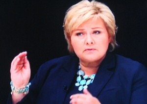 Erna Solberg thinks she can do just as good a job, also with Progress Party leader Siv Jensen as finance minister in a new non-socialist government coalition. Jensen wants to spend far more of Norway's oil revenues than Stoltenberg's government has. PHOTO: TV2 screen grab/newsinenglish.no