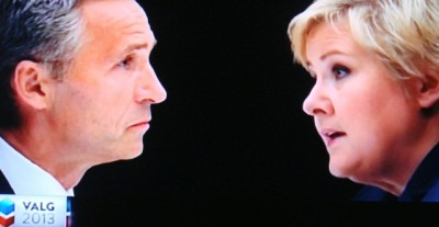 Norway's two main candidates for prime minister, incumbent Labour Party leader Jens Stoltenberg and Conservatives leader Erna Solberg, squared off in a debate on commercial television station TV2 Thursday night. PHOTO: TV2 screen grab/newsinenglish.no