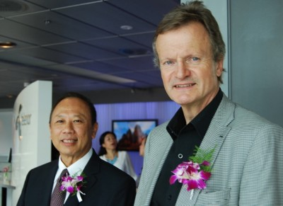 Thailand's ambassador to Norway, Theerakun Niyom, and Telenor chief executive Jon Fredrik Baksaas welcomed guests to a reception and cultural event at Telenor's headquarters on Friday. PHOTO: newsinenglish.no/Nina Berglund
