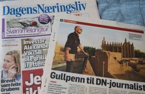 """Thursday's edition of DN, with a photo of Engdal while on assignment in Mali earlier this year. """"Dagens Næringsliv"""" translates to """"The Day's Business Life""""  but the paper in English is generally called """"The Norwegian Business Daily."""" PHOTO: newsinenglish.no"""