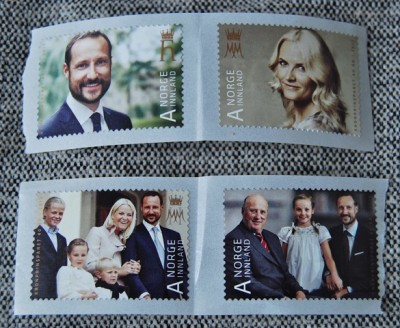 Here are the four versions of royal postage stamps good for first-class delivery within Norway. At top, Crown Prince Haakon and Crown Princess Mette-Marit. On the bottom left stamp, they're joined by their children Princess Ingrid Alexandra (now age 9) and Prince Sverre Magnus (8) and, at far left, Marius Borg Høiby (16), son of Mette-Marit and Morten Borg. In the stamp at the right, King Harald is shown with the next two heirs to the throne, Crown Prince Haakon and Princess Ingrid Alexandra. PHOTO: newsinenglish.no/Posten