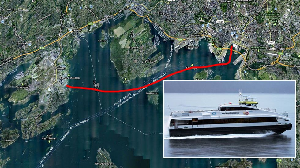 Map showing a proposed sea route from Oslo's waterfront to the Fornebu business area. ILLUSTRATION: NOrled/Google maps