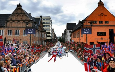 Oslo officials still need to convince Oslo residents that it's a good idea to spend at least NOK 30 billion (more than USD 5 billion) to host a Winter Olympics in 2022. Here, an artist's rendition of a ski race on a downtown street. PHOTO: Oslo2022/Oslo Kommune