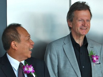 """What a difference a year makes: Thai Ambassador Theerakun Niyom publicly told Telenor chief executive Jon Fredrik Baksaas at a reception just last summer that Telenor was """"doing a good job in connecting people in Thailand."""" Now Thailand's new military rulers are threatening Telenor for revealing that they ordered Telenor not to connect people, by blocking Facebook. PHOTO: newsinenglish.no/Nina Berglund"""