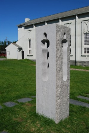 Monuments to the victims of the attacks on July 22, 2011, like this one outside the main church in the northern city of Vadsø, have become gathering points for memorials around the country. PHOTO: newsinenglish.no/Nina Berglund